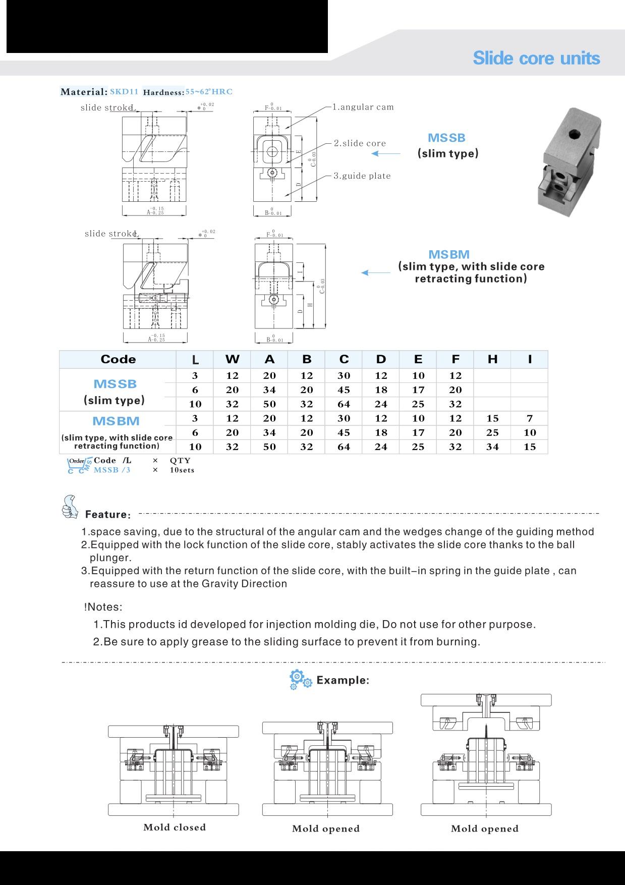 Slide Core Units-Plassteze